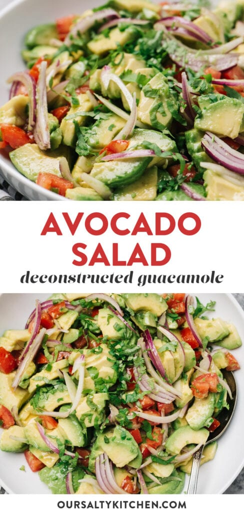 Pinterest collage for an avocado salad recipe (aka deconstructed guacamole).