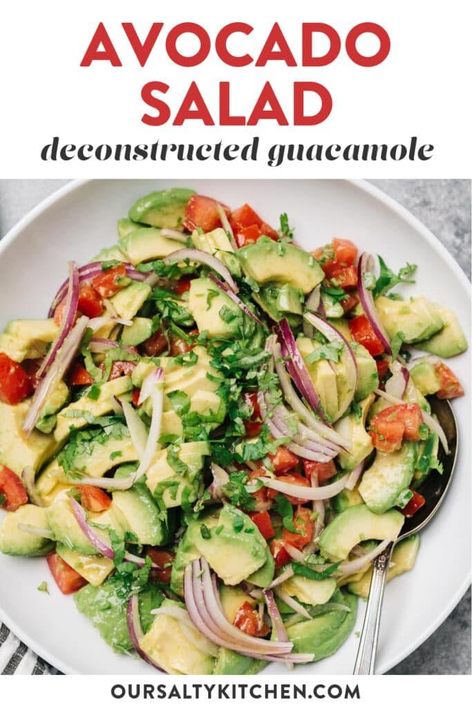 Pinterest image for an avocado salad recipe (aka deconstructed guacamole).