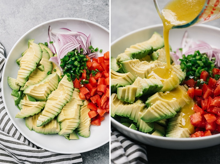 Side by side prep shots showing how to compose and dress a guacamole salad.