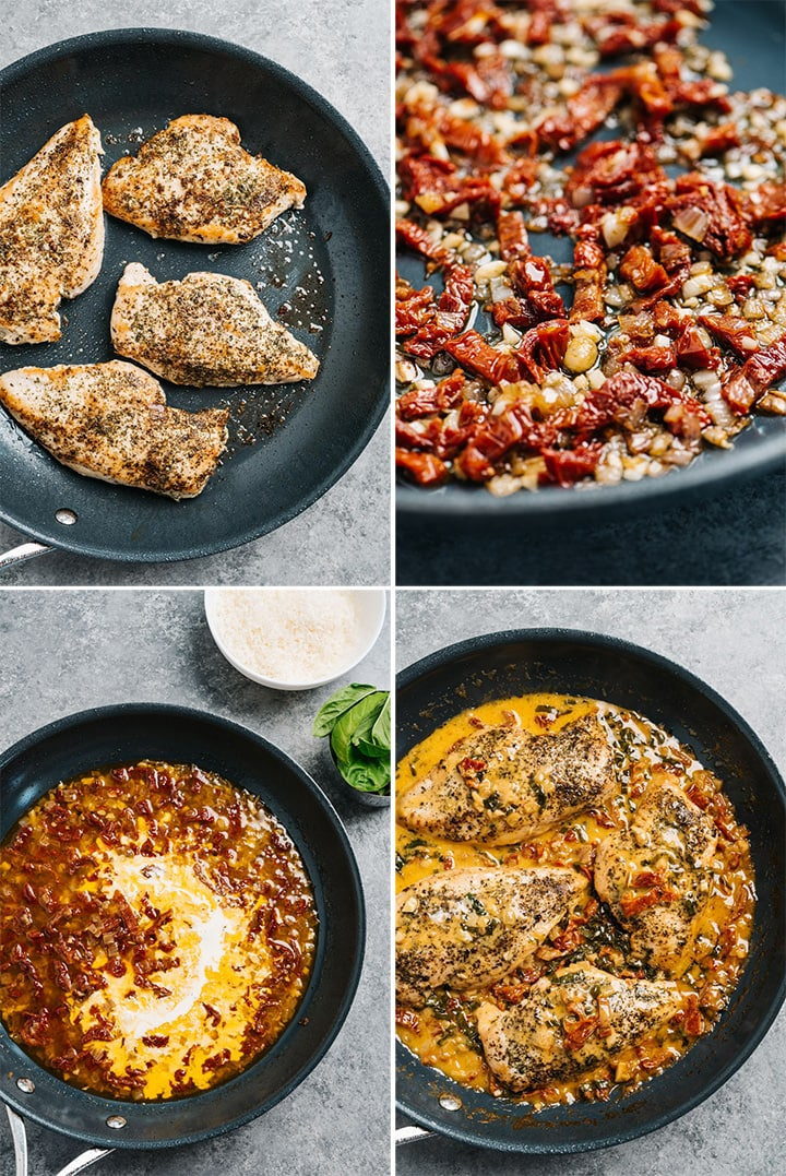A collage showing how to make one pan skillet chicken with creamy basil sauce.
