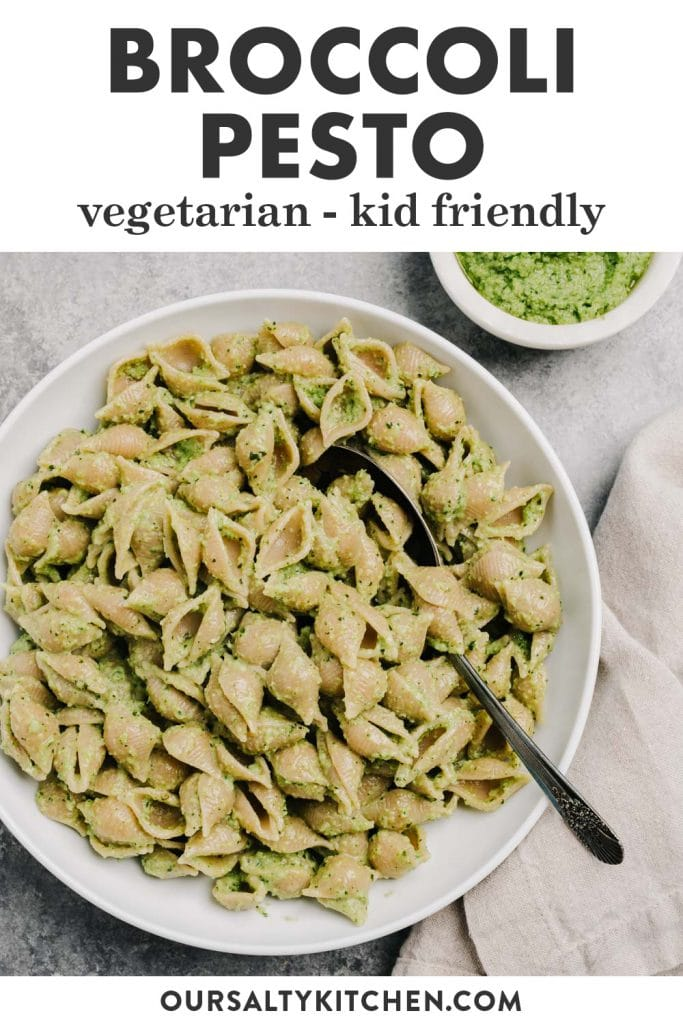 Pinterest image for a pesto recipe with frozen broccoli.