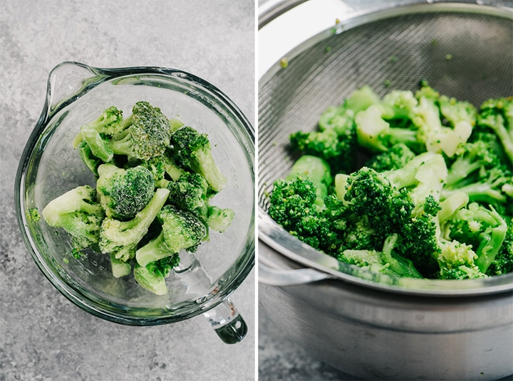Frozen broccoli before and after being defrosted.