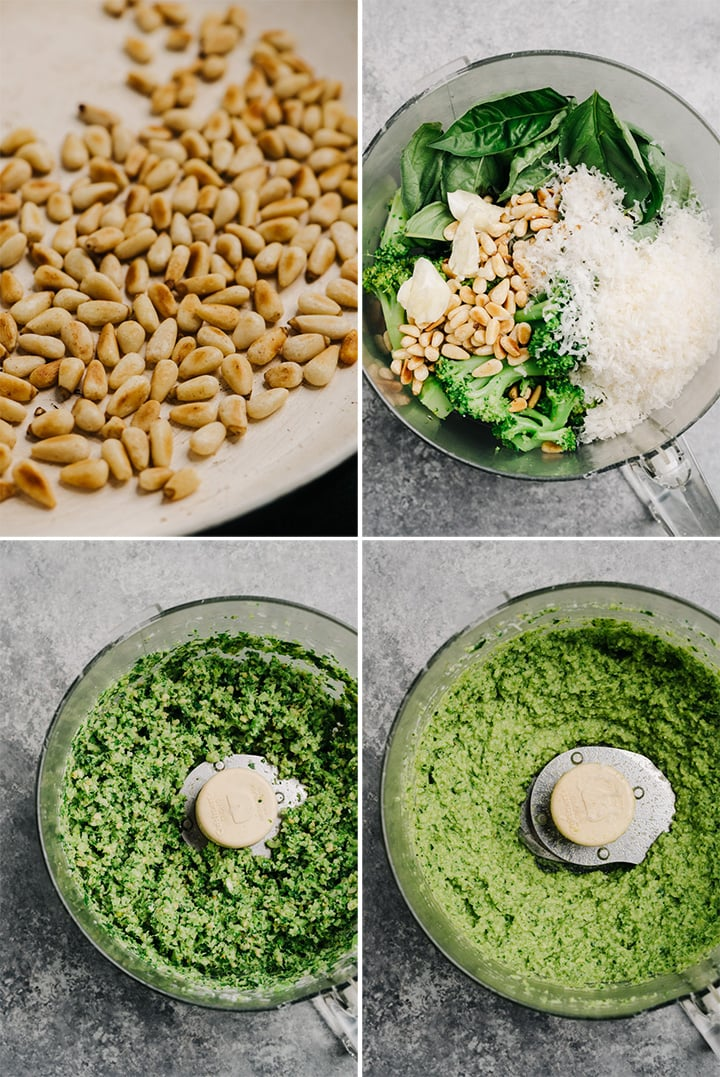 A collage showing how to make broccoli pesto in a food processor.
