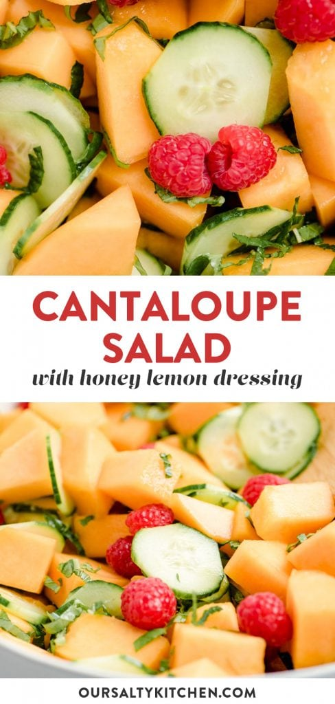 Pinterest collage for a cantaloupe salad recipe.