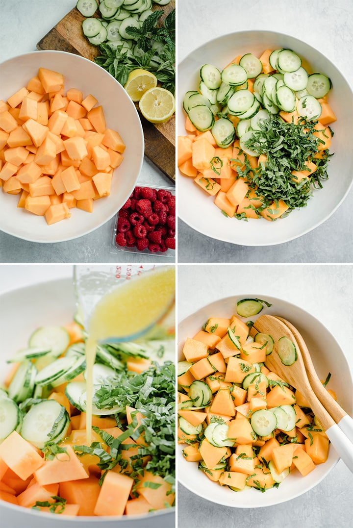 A collage showing how to make a diced cantaloupe salad with honey lemon dressing, garnished with raspberries.