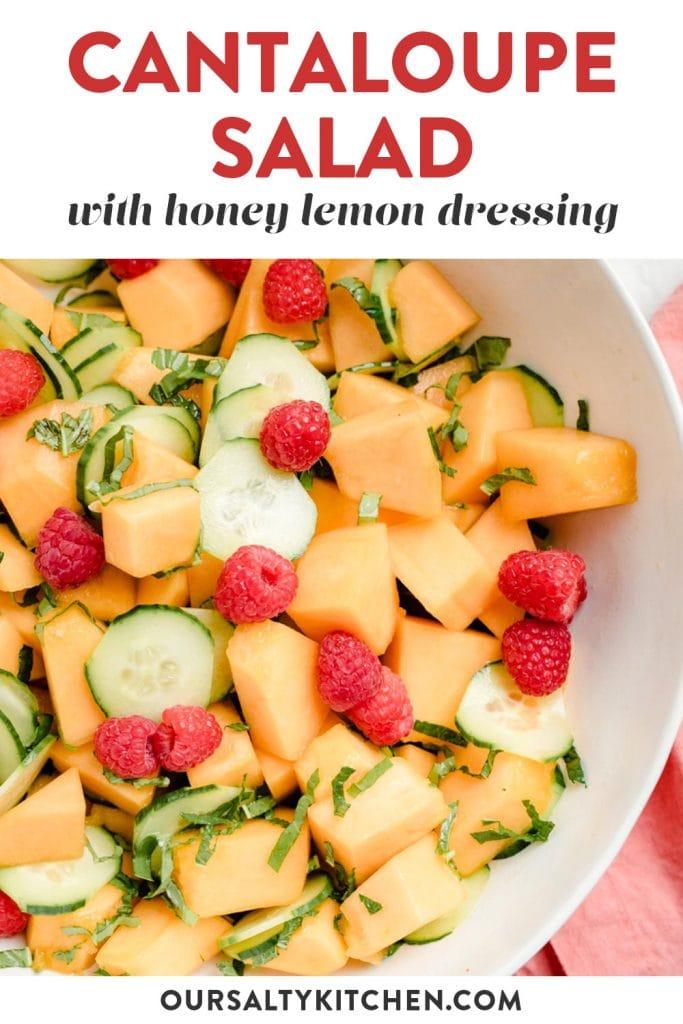 Pinterest image for a cantaloupe salad recipe.