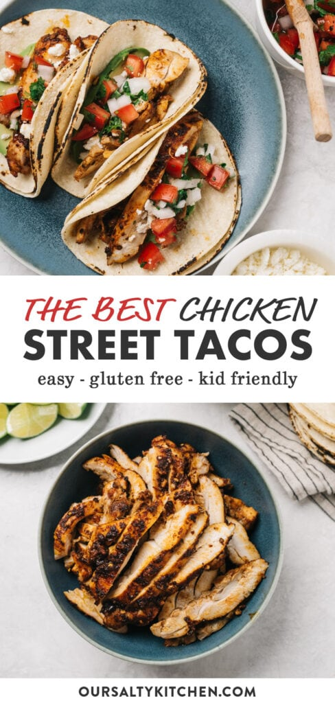 Pinterest image for a street taco recipe made with oven roasted chicken.