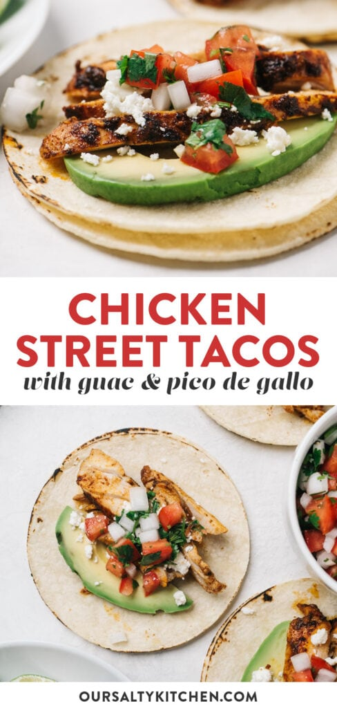 Pinterest collage for a chicken street tacos recipe.