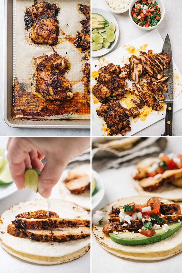 A collage showing how to slice cooked chicken for tacos, and how to build a chicken street taco.