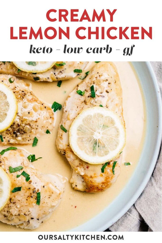 Pinterest image for a low carb and keto lemon chicken with creamy sauce.