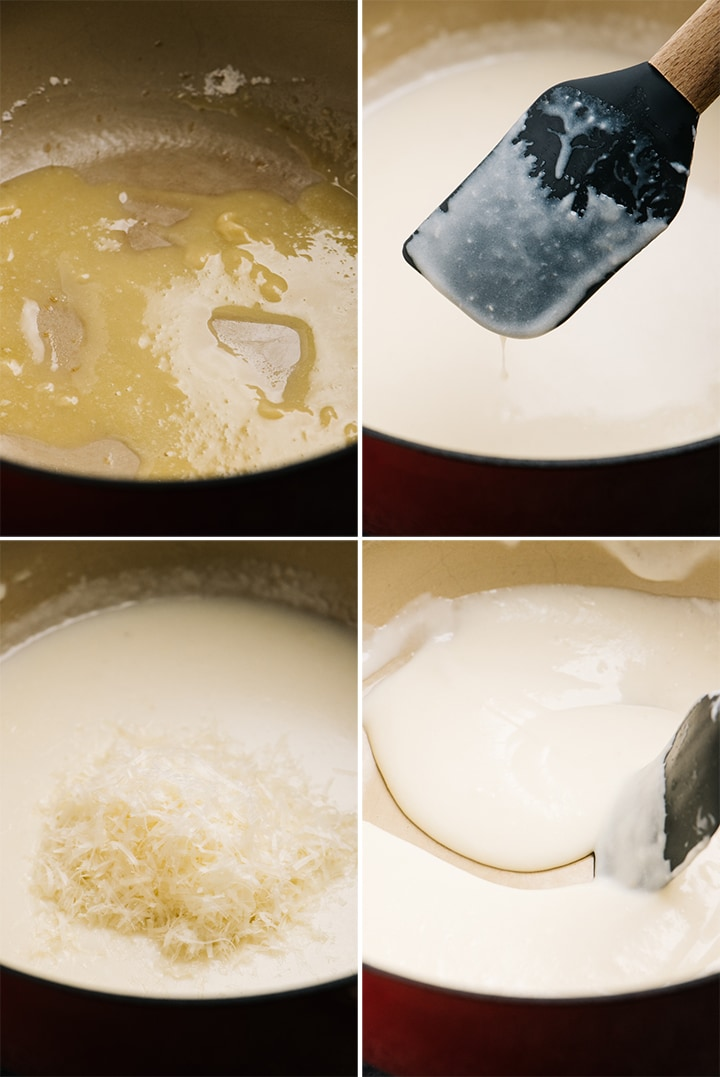 A collage showing how to make creamy pasta sauce.