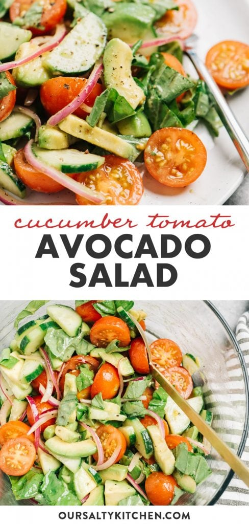 Pinterest collage for an avocado salad with cucumber, tomato, and red onion.