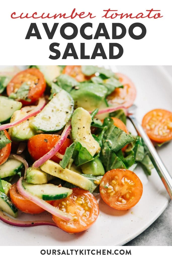 Pinterest image for an avocado salad with cucumber, tomato, and red onion.