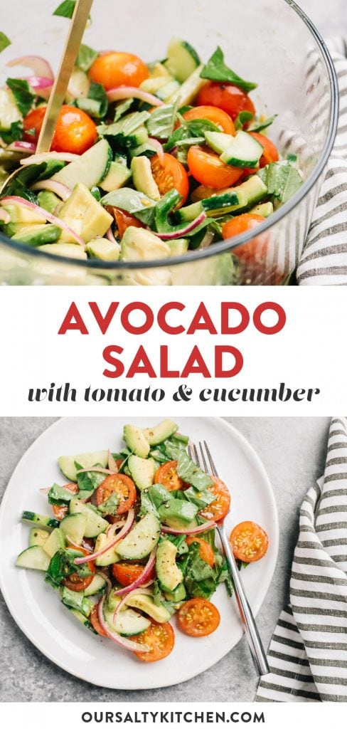 Pinterest collage for a cucumber, tomato, and avocado salad recipe with red onion and balsamic dressing.