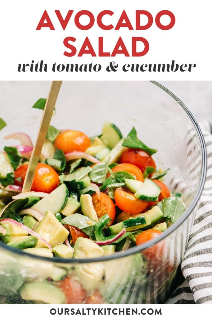 Pinterest image for a cucumber, tomato, and avocado salad recipe with red onion and balsamic dressing.
