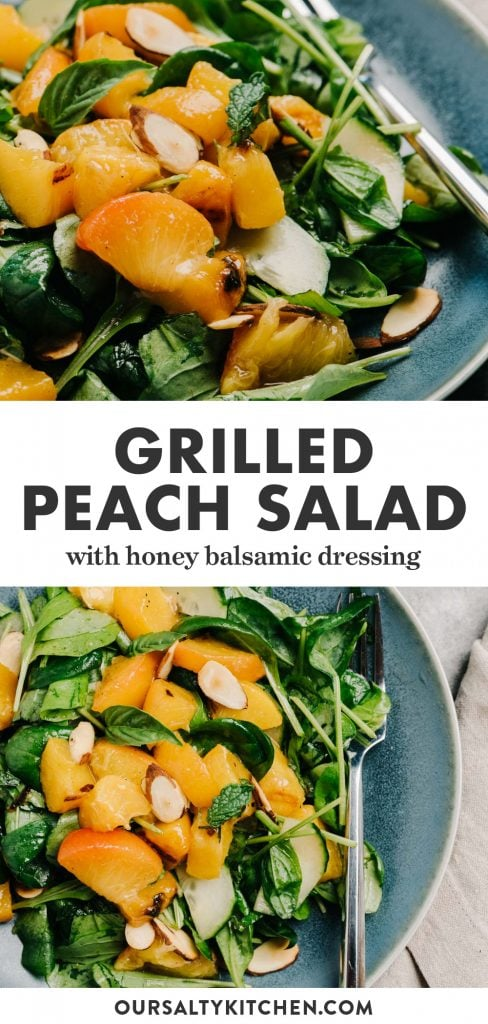Pinterest collage for a grilled peach salad with arugula and almonds.