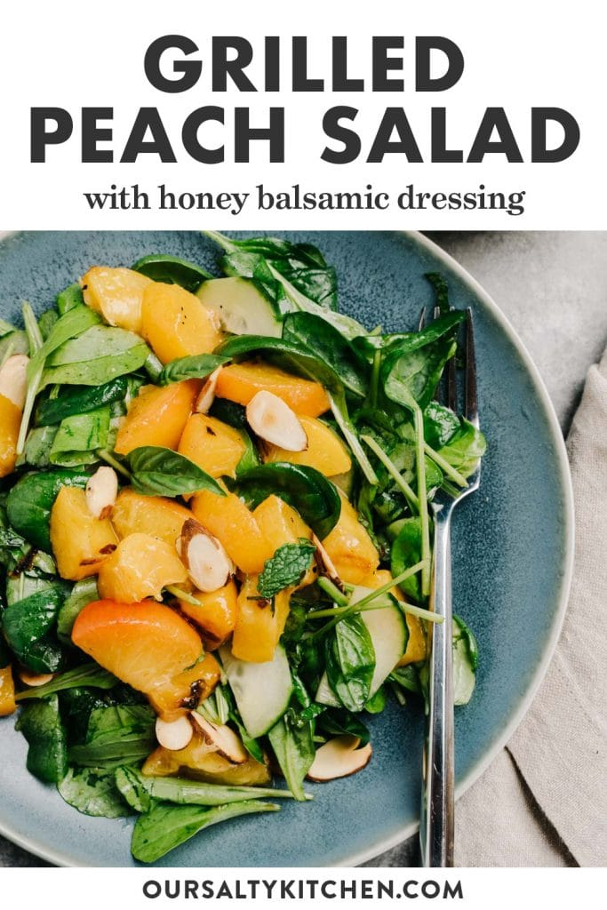 Pinterest image for a grilled peach salad with arugula and almonds.