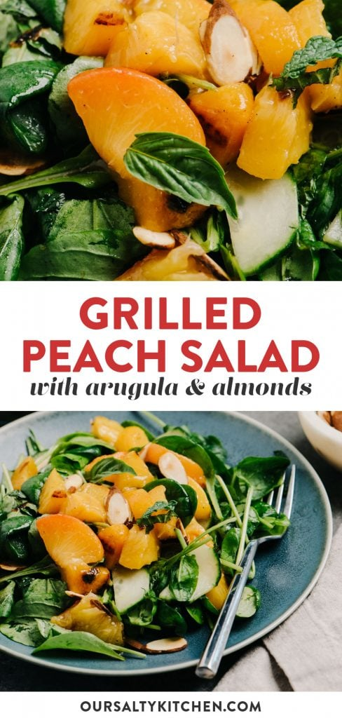 Pinterest collage for a peach salad recipe with honey balsamic dressing.
