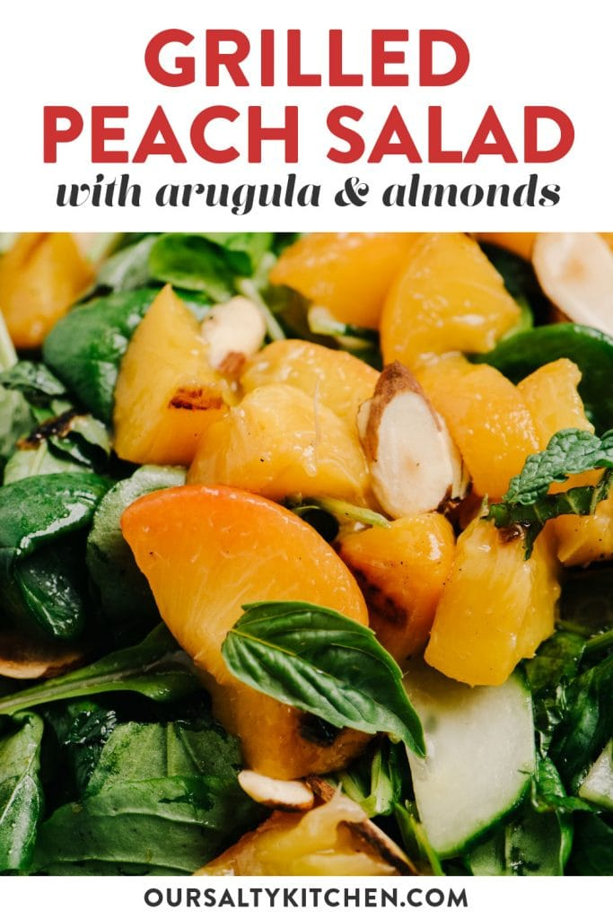 Pinterest image for a peach salad recipe with honey balsamic dressing.