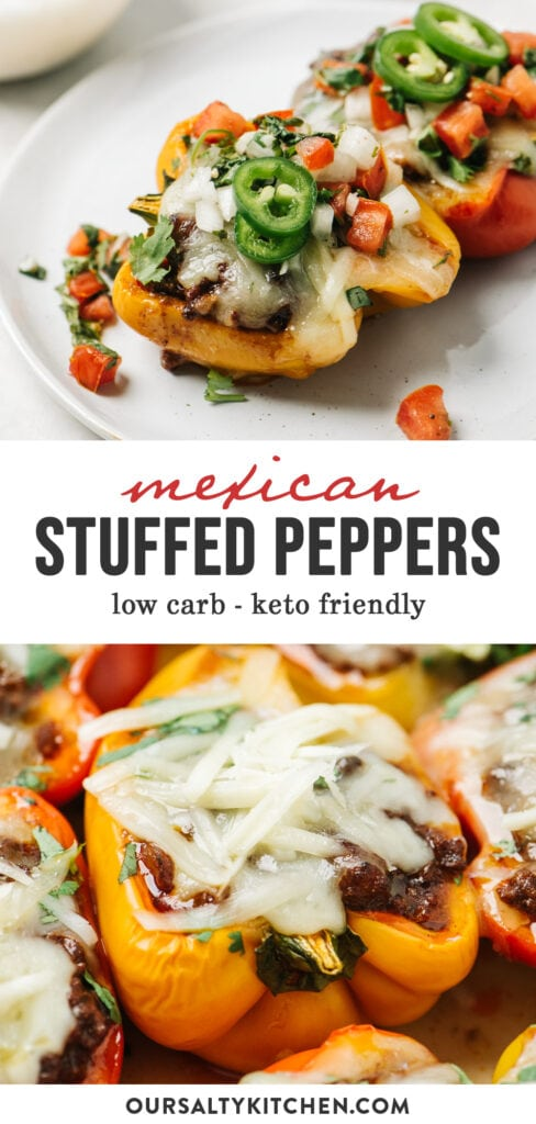Pinterest collage for keto and low carb stuffed peppers with mexican ground beef.