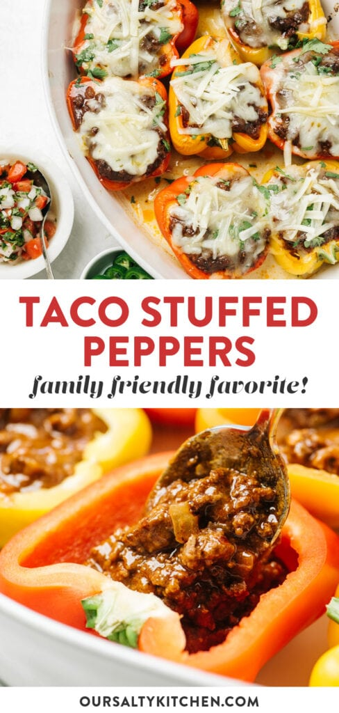 Pinterest collage for a recipe for mexican stuffed peppers.