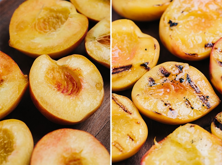 Fresh peaches slices in half with pits removed before and after being grilled.