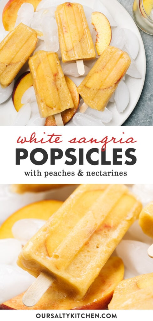 Pinterest collage for a boozy popsicle recipe with white wine and fresh fruit.
