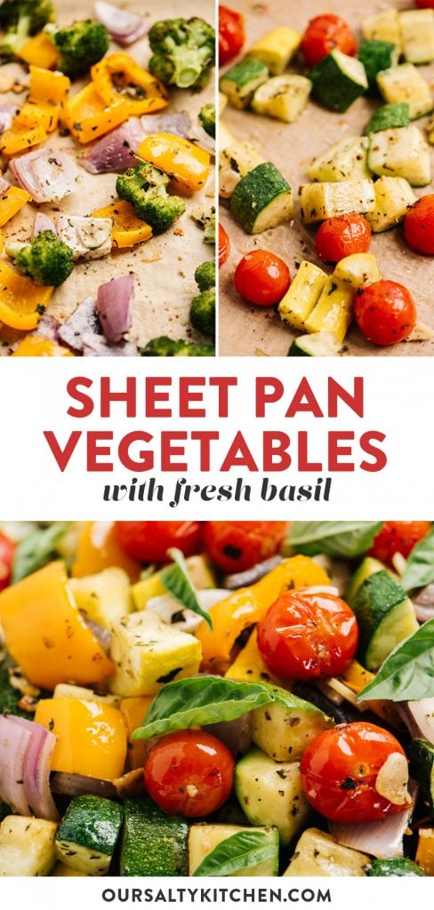 Pinterest collage for a sheet pan roasted vegetables recipe.