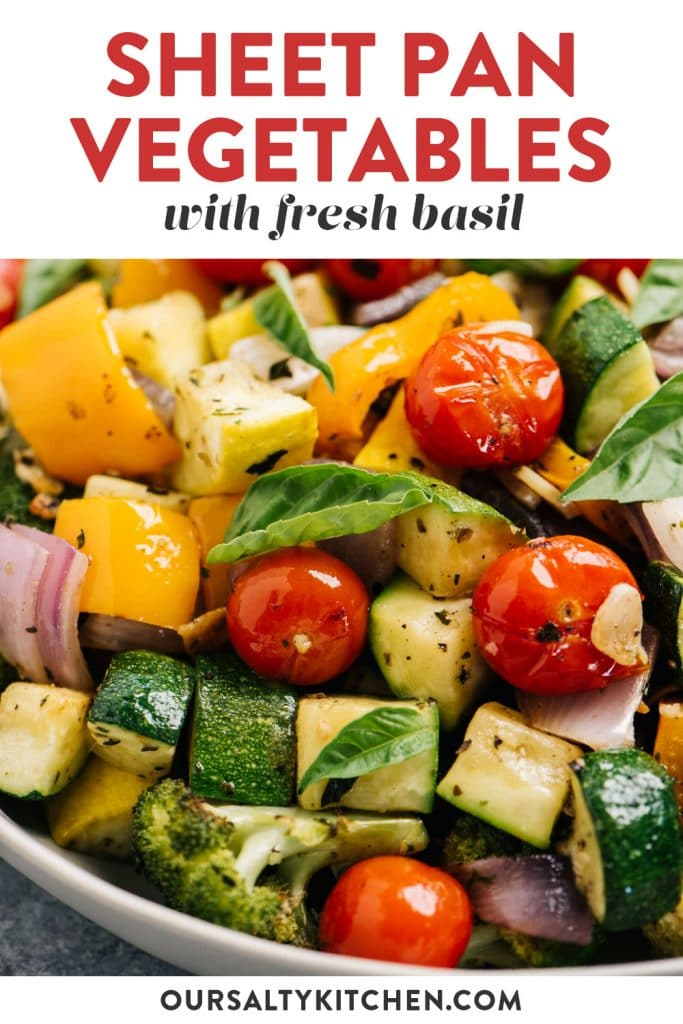 Pinterest image for a sheet pan roasted vegetables recipe.
