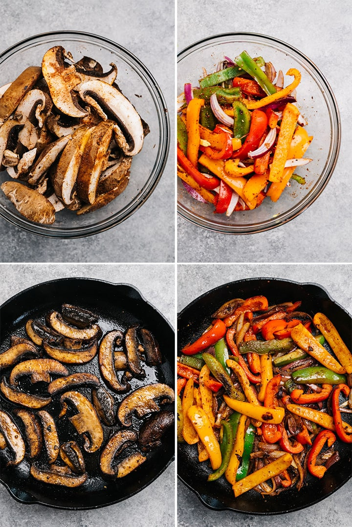 A collage showing how to make fajita spiced mushrooms and fajita spices peppers and onions in a cast iron skillet.