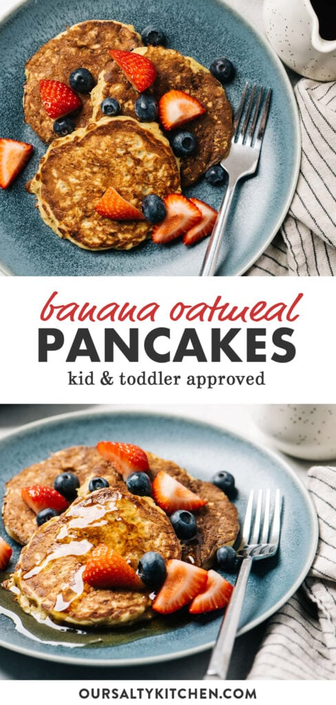 Pinterest collage for a recipe for banana oatmeal pancakes.