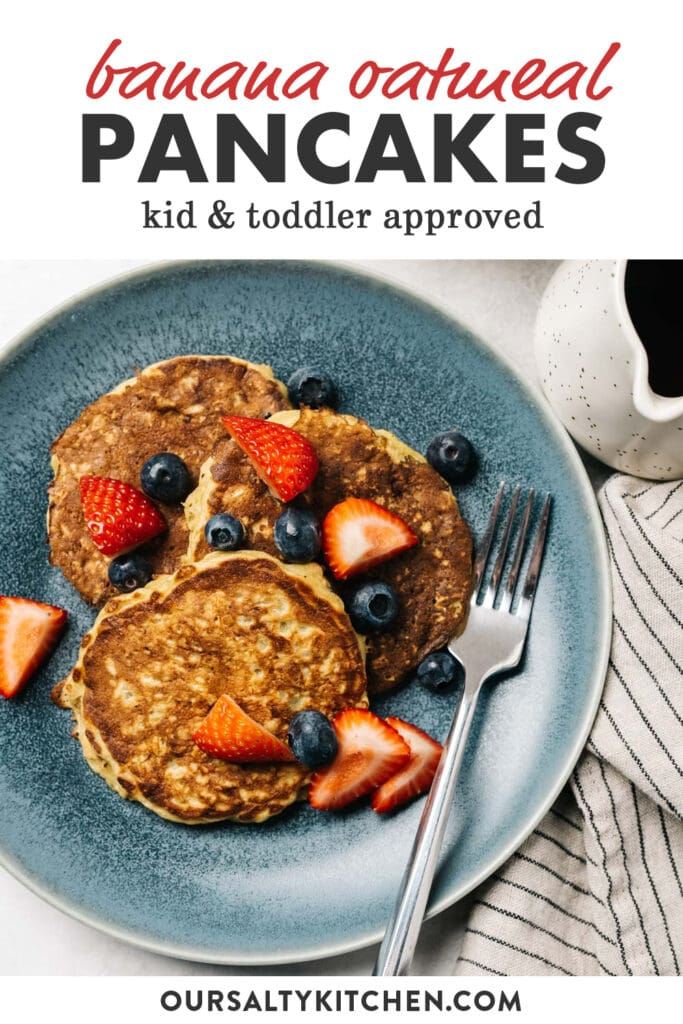 Pinterest image for a recipe for banana oatmeal pancakes.