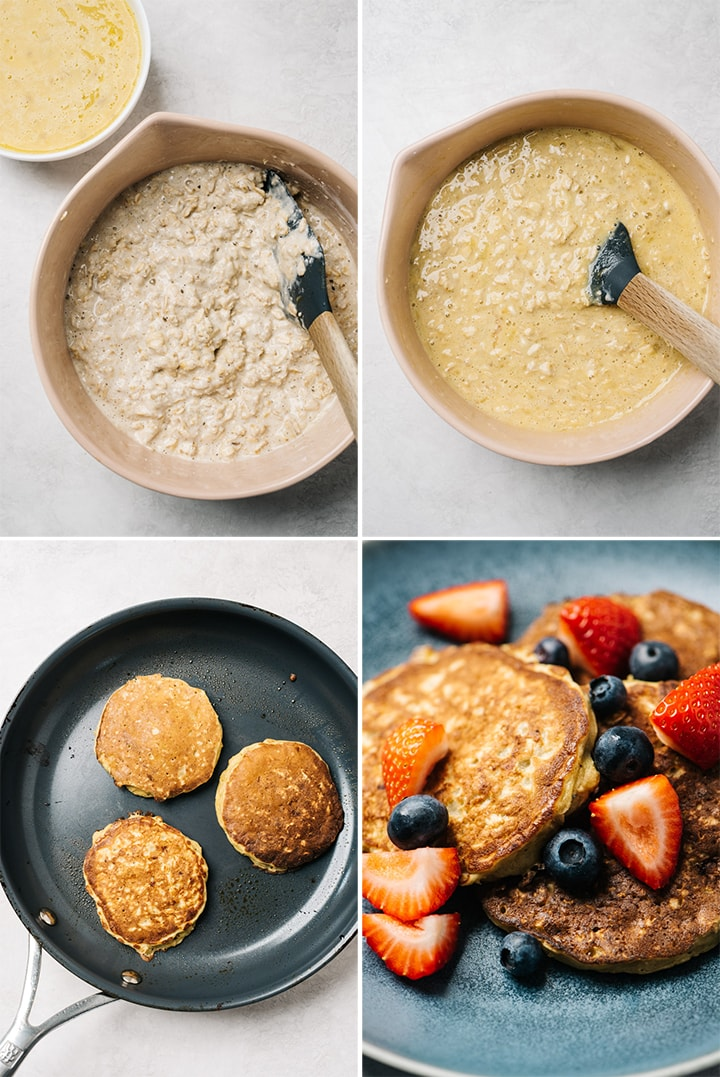A collage showing how to soak oats and make the batter for oatmeal pancakes.