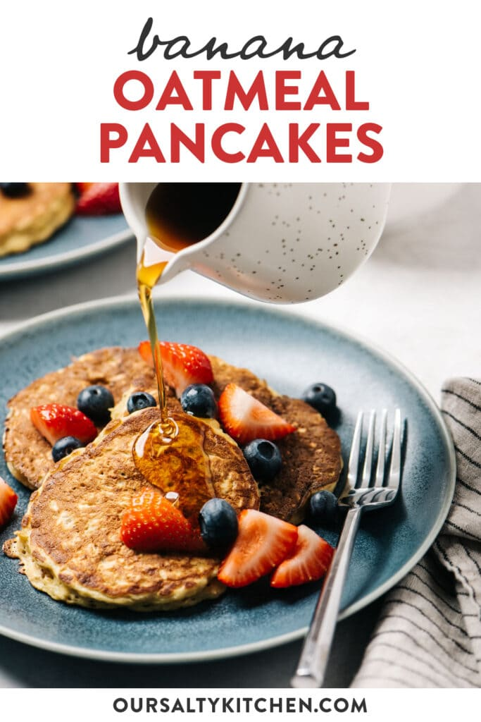 Pinterest image for a recipe for oatmeal pancakes with bananas, topped with fresh berries.