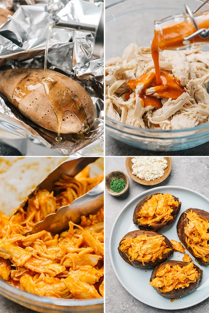 A collage showing how to make buffalo chicken stuffed sweet potatoes step by step.