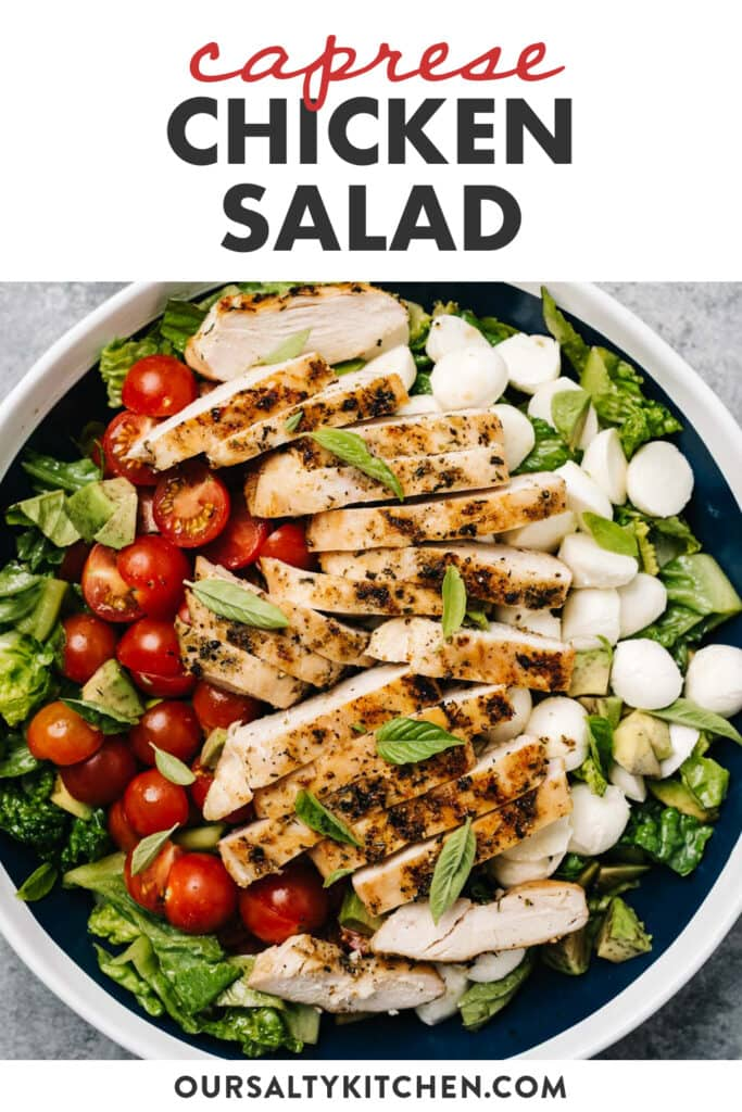 Pinterest image for a recipe for caprese salad with grilled chicken.