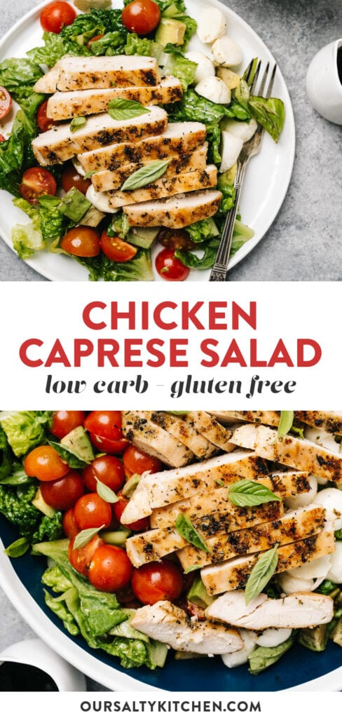Pinterest collage for a low carb chicken caprese dinner salad.
