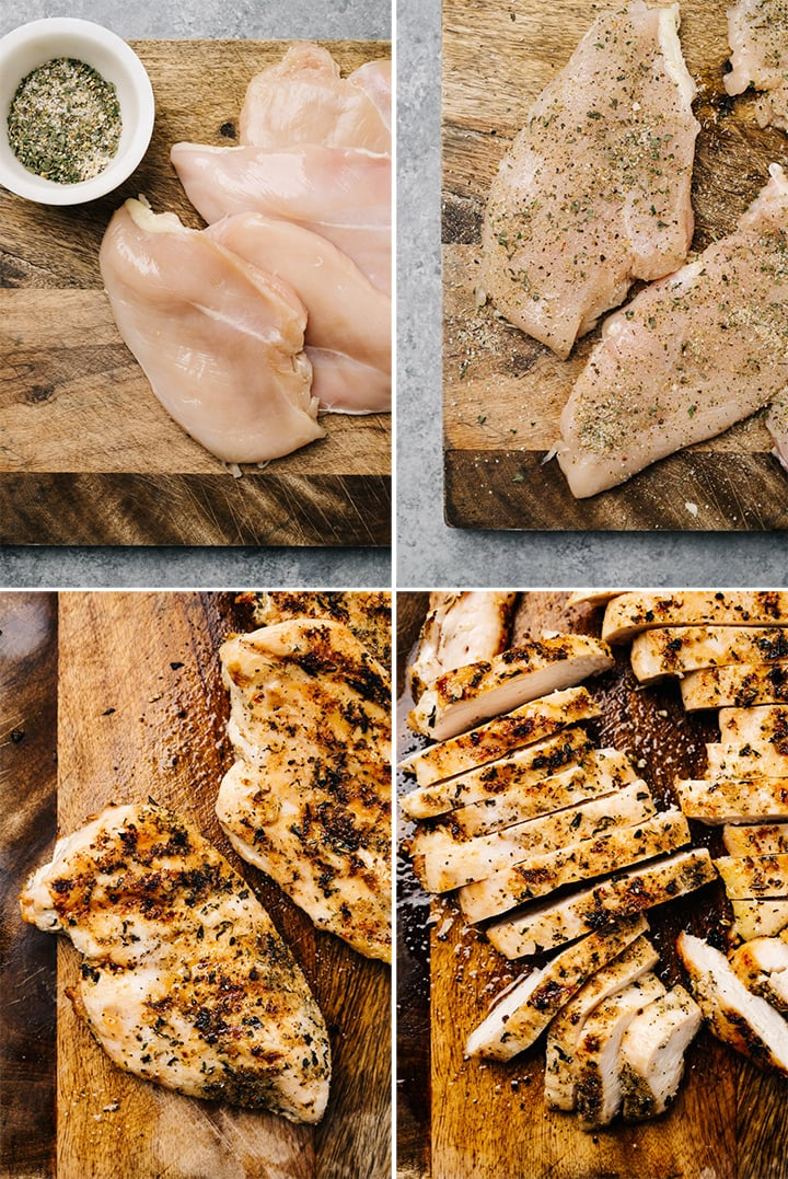 A collage showing how to season, grilled, and sliced chicken for a caprese dinner salad.