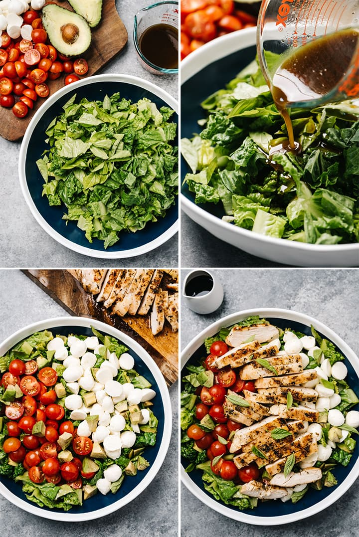 A collage showing how to compose a caprese chicken dinner salad in a large blue serving bowl.