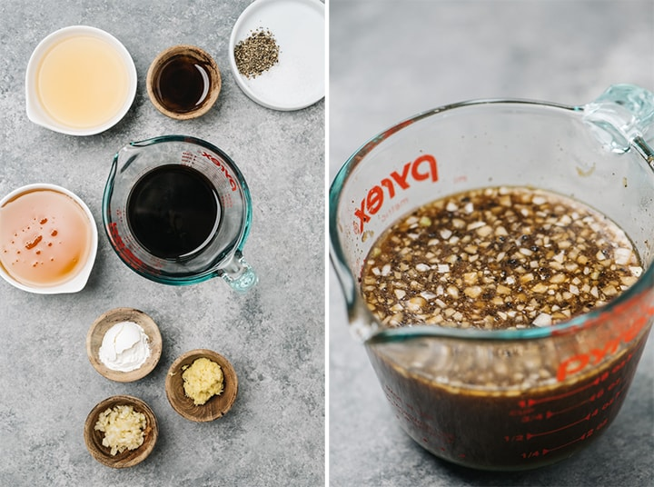 The ingredients for healthy teriyaki sauce arranged on a cementer background, and a pyrex glass mixing cup filled with the prepared sauce.