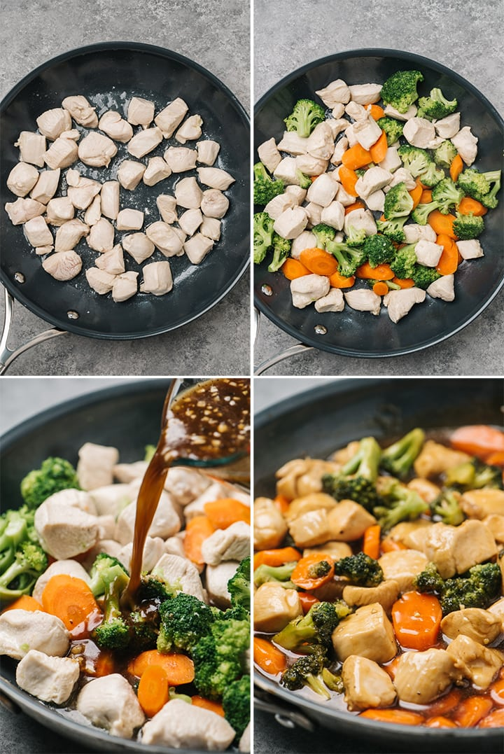 A collage showing step by step images of how to make healthy chicken teriyaki.