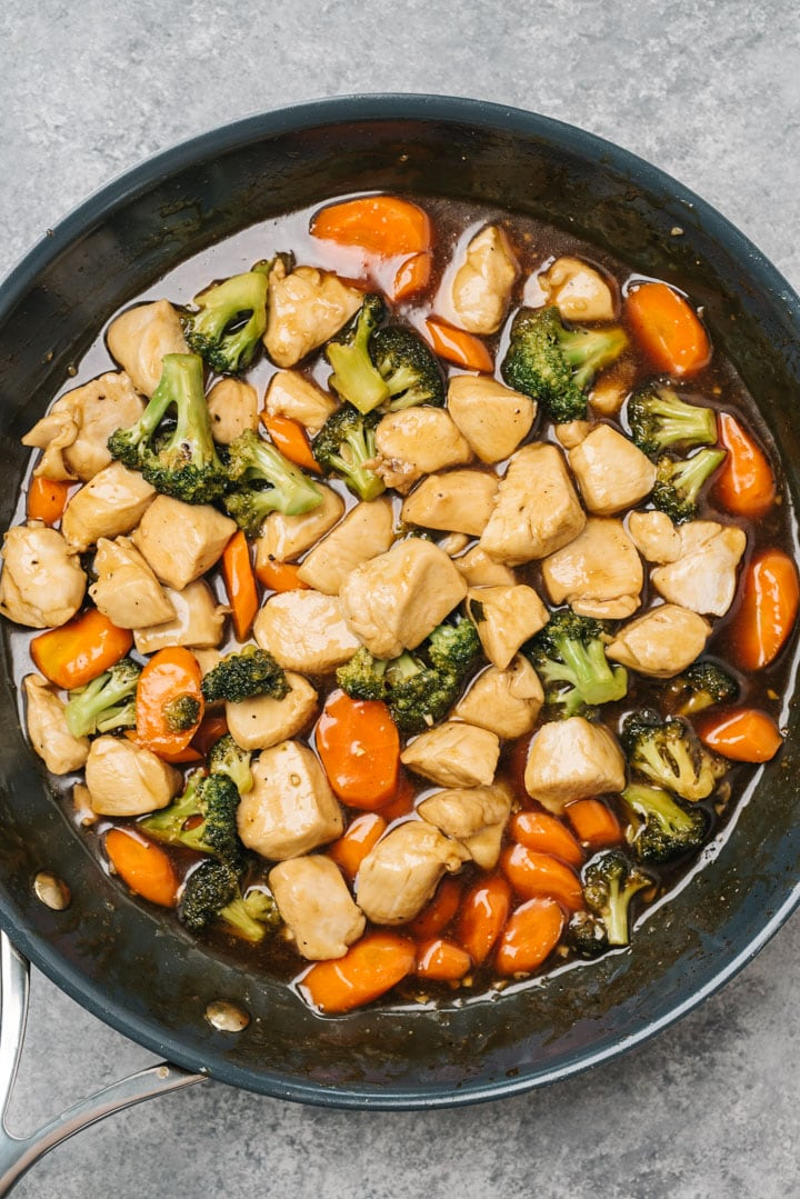 Healthy chicken teriyaki with vegetables in a skillet.