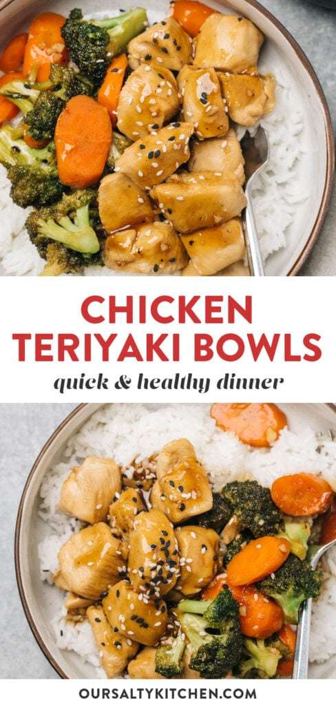 Pinterest collage for healthy chicken teriyaki bowls with broccoli and carrots.