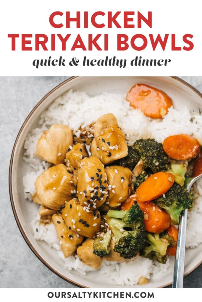 Pinterest image for healthy chicken teriyaki bowls with broccoli and carrots.
