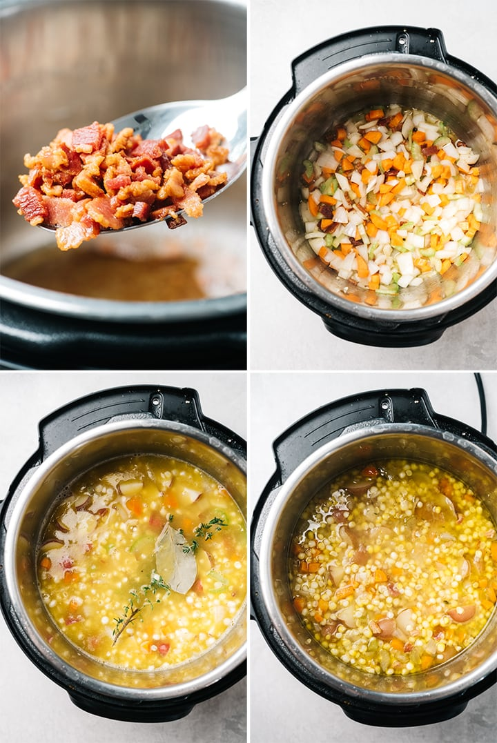 A collage showing how to make instant pot corn chowder step by step.