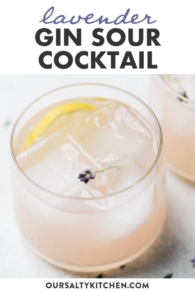 Pinterest image for a recipe for lavender sour gin cocktails.
