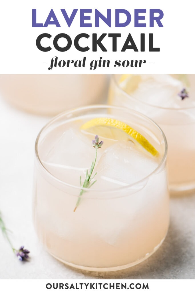 Pinterest image for a lavender cocktail recipe with gin, lemon juice, and lavender simple syrup.