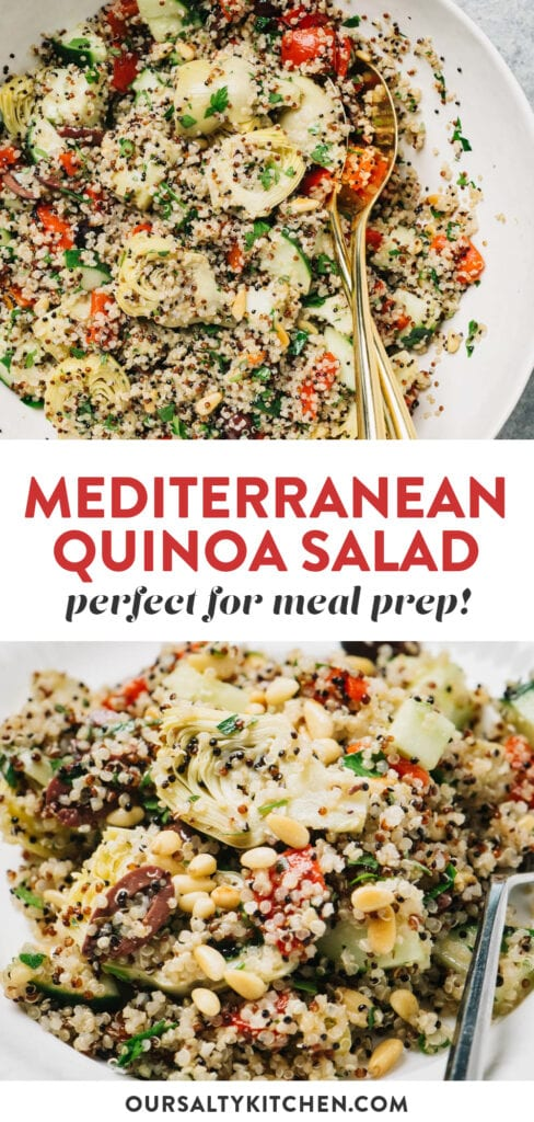 Pinterest collage for a mediterranean quinoa salad with olives, artichokes, and pine nuts.