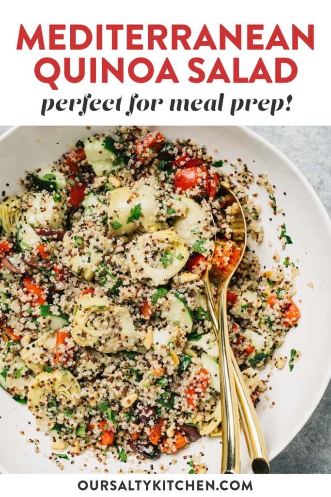 Pinterest image for a mediterranean quinoa salad with olives, artichokes, and pine nuts.