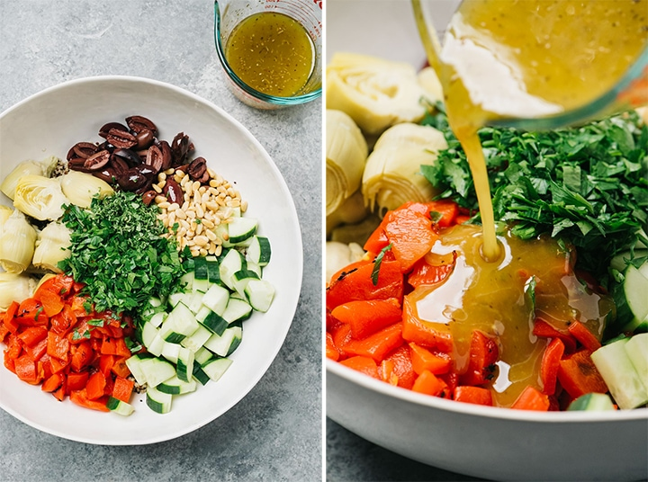 A collage showing to make a quinoa salad.